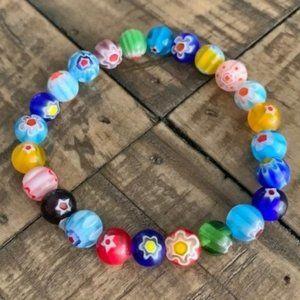 8mm Multi Colored Glass Bead Bracelet